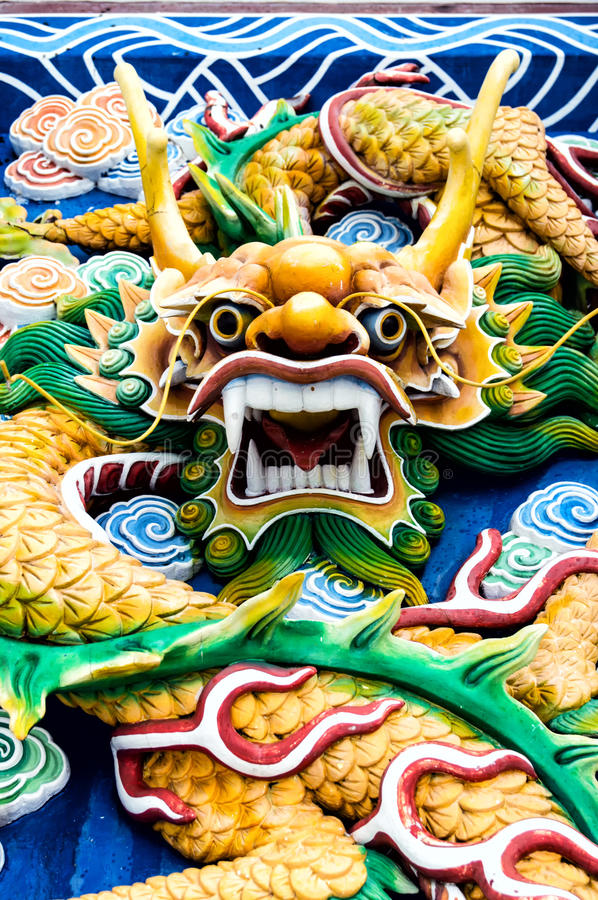 Free Colourful Chinese Dragon Head Royalty Free Stock Photography - 55252087