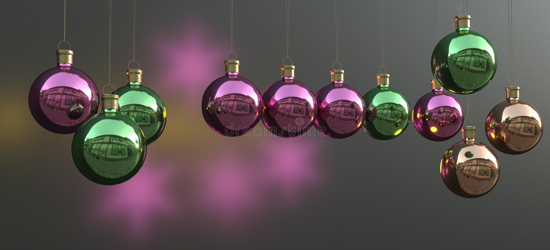 Colourful christmas balls and lights stock photo