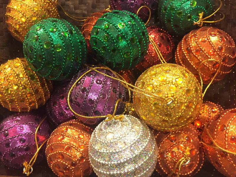 Colourful Christmas baubles royalty free stock photo