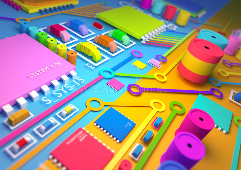 Download Colourful circuit board stock illustration. Image of background - 25686655