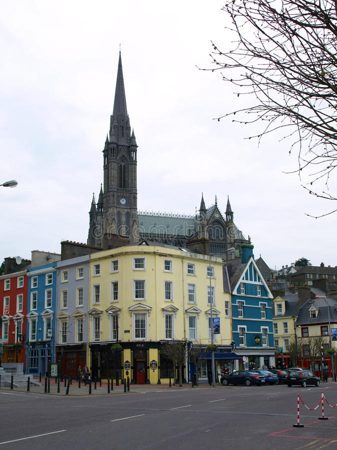 Free Colourful Cobh Buildings And Cathedral Spire, Cobh, Ireland  Stock Photos - 36851603
