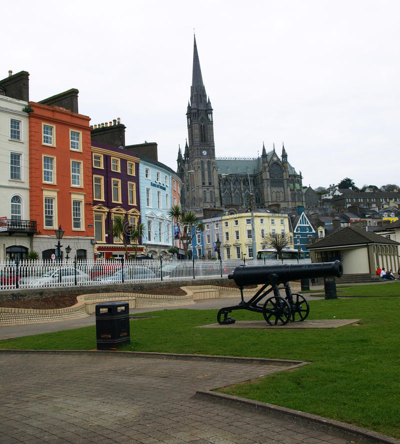 Free Colourful Cobh Buildings, Cannon And Cathedral Spire, Cobh, Ireland Stock Photos - 36851513