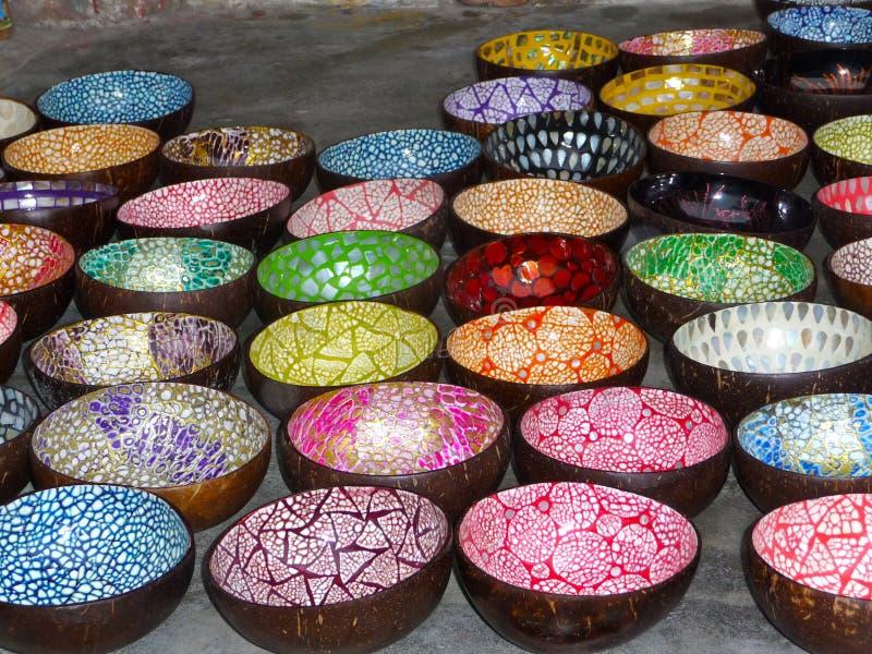 Colourful coconut bowls stock photos