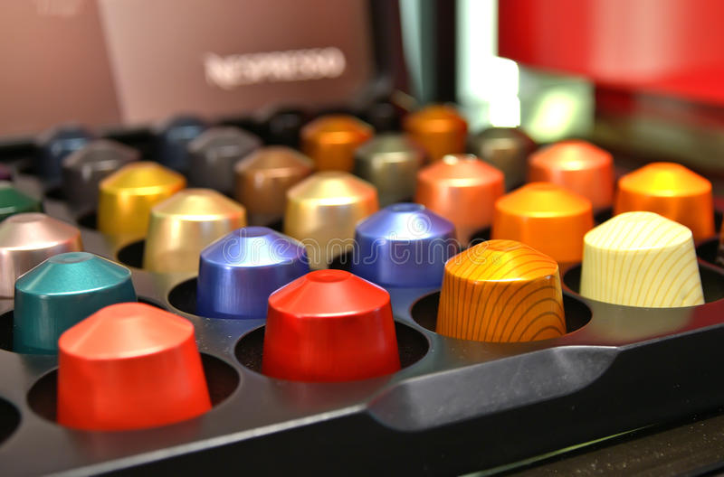 Colourful coffee capsules royalty free stock photos
