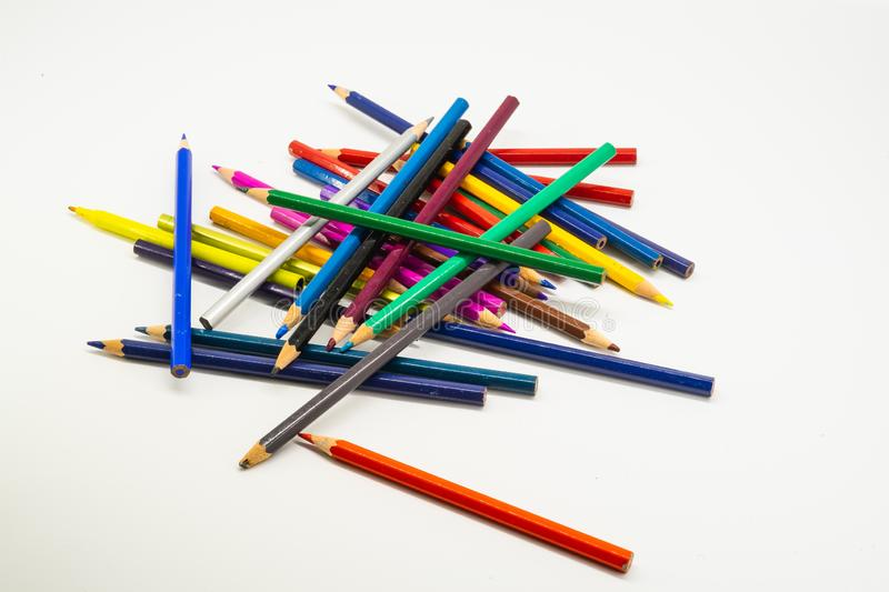 Colourful colour pencils isolated on white background.Close up royalty free stock image