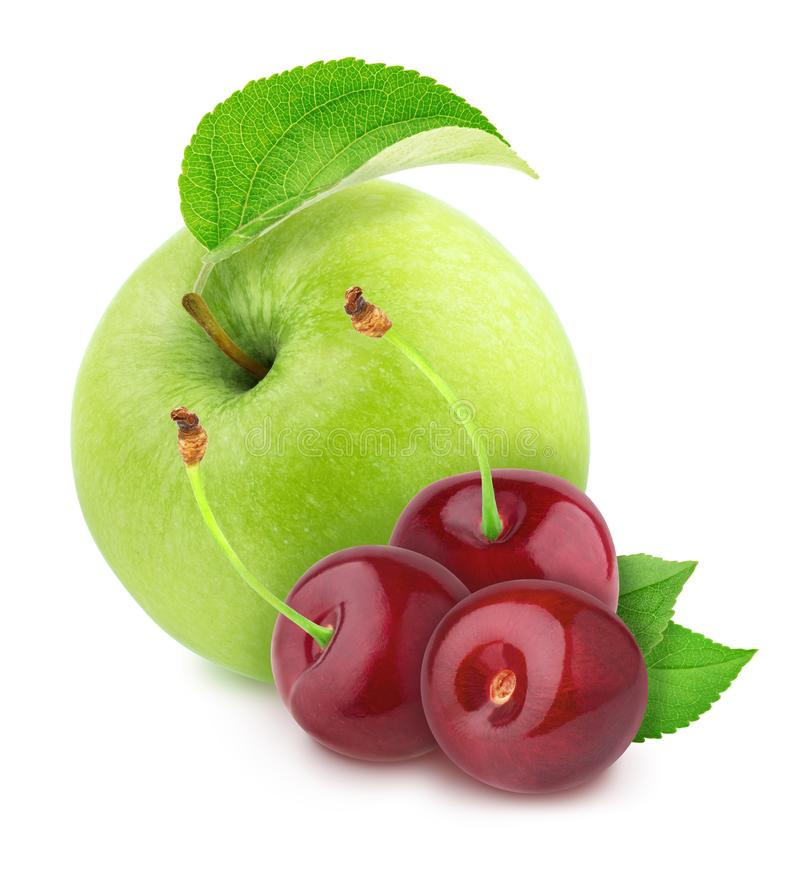 Colourful composition with apple and cherry, isolated on a white background with clipping path. royalty free stock images