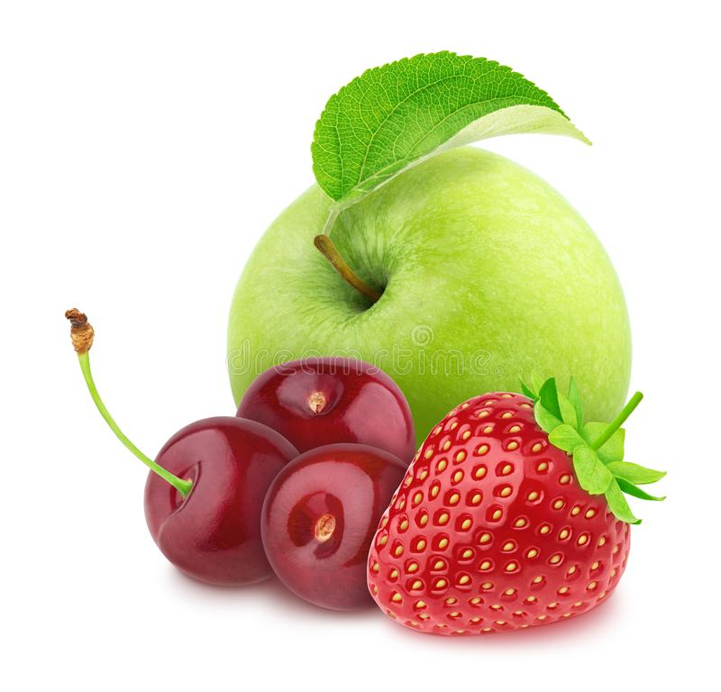 Colourful composition with apple and garden berries - strawberry and cherry, isolated on a white background with clipping path stock images