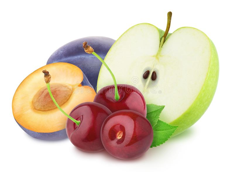 Colourful composition with apple, plum and cherry isolated on a white background with clipping path. stock photography