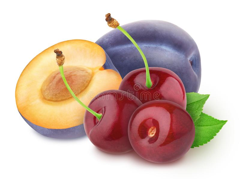 Colourful composition with plum and cherry isolated on a white background with clipping path. stock image