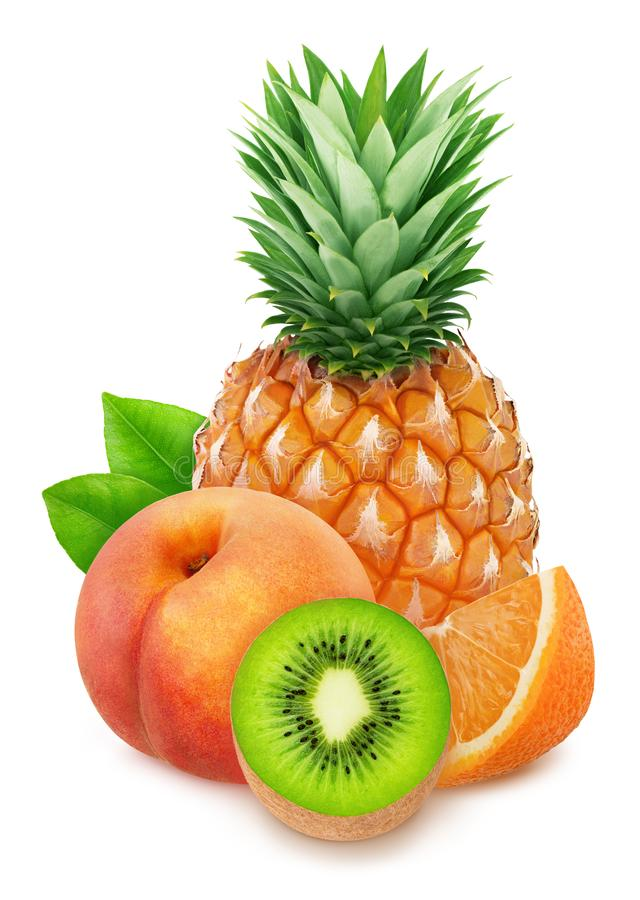 Colourful composition with sweet fruit mix - pineapple, kiwi, orange and peach isolated on a white background with royalty free stock photography