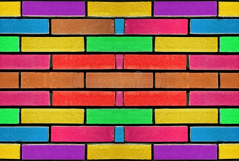 Colourful concrete brick wall pattern background with bright paibnted colours. Abstract multicolour rainbow blocks pattern stock images