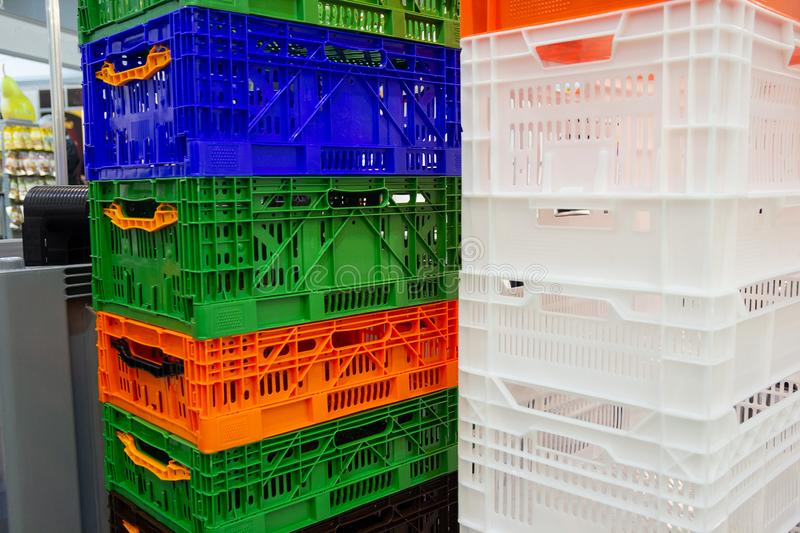 Colourful container box Plastic Basket stack stock image