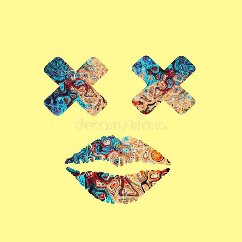 Colourful cross eye with lips stock image