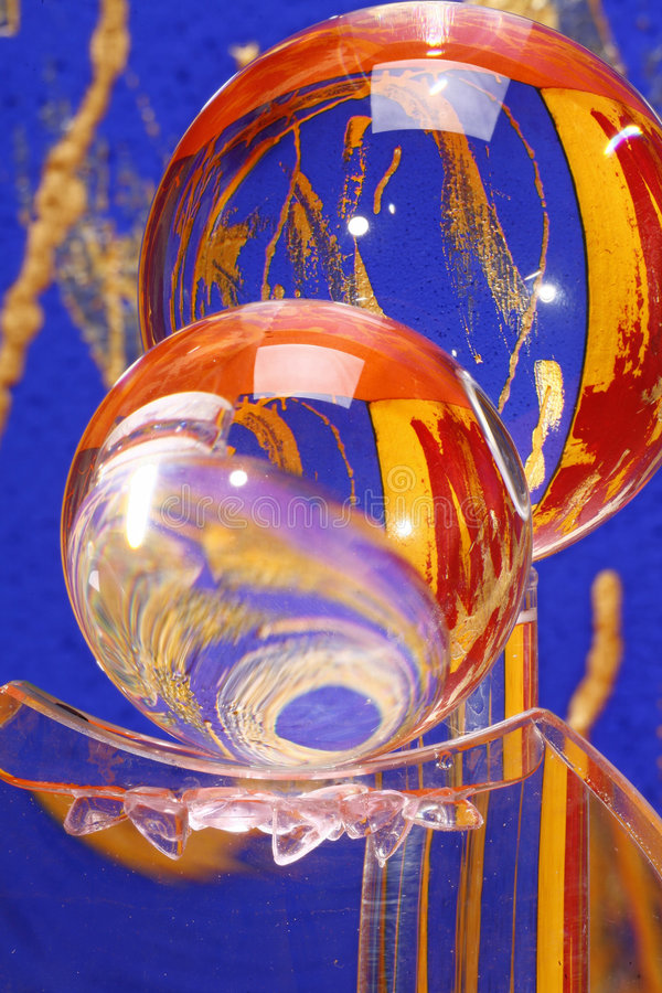 Colourful crystal glass balls stock photos