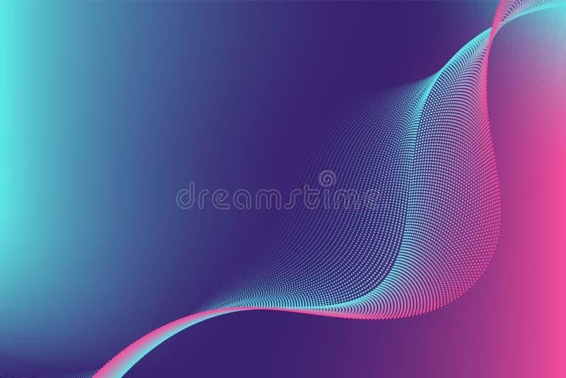 Colourful cząsteczki linii fali abstrakcjonistycznego tła nowożytny projekt z kopii przestrzenią; Wektorowa ilustracja dla twój s ilustracja wektor