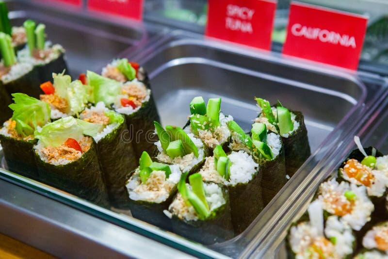 Colourful delicious sushi selection. At English Market, Cork, Ireland royalty free stock images