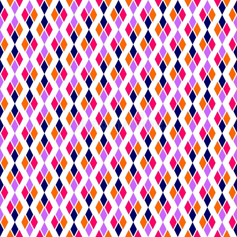 Colourful diagonal Geometric texture with rhombuses. Diamonds seamless pattern. SEAMLESS, GEOMETRIC REPEAD,PRINTING .BED SHEET, ,DOMESTIC PATTERN, DESIGN, ROOF stock illustration