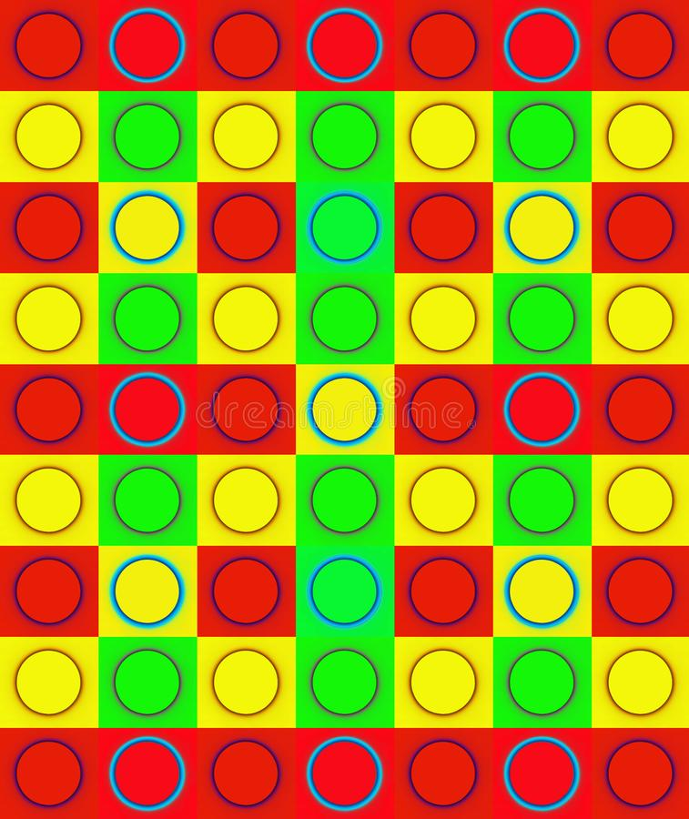 COLOURFUL DUPLICATION OF CIRCLE ON SQUARE. Image of blue circles in bright red, green and yellow squares repeated in a pattern royalty free stock images