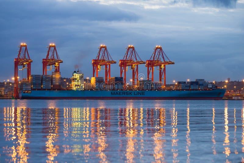 Colourful Durban Harbour South Africa. Durban harbour South Africa just before sunrise stock images