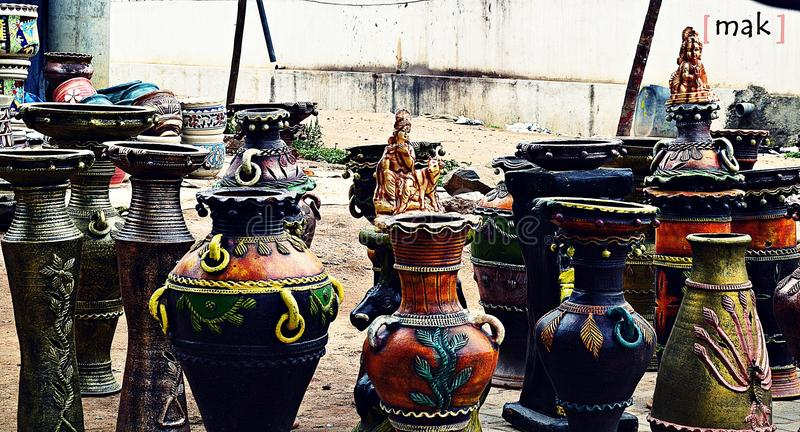 Colourful earthen pots stock images