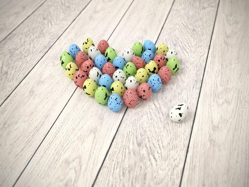 Colourful Easter eggs heart on white wooden floor stock photos
