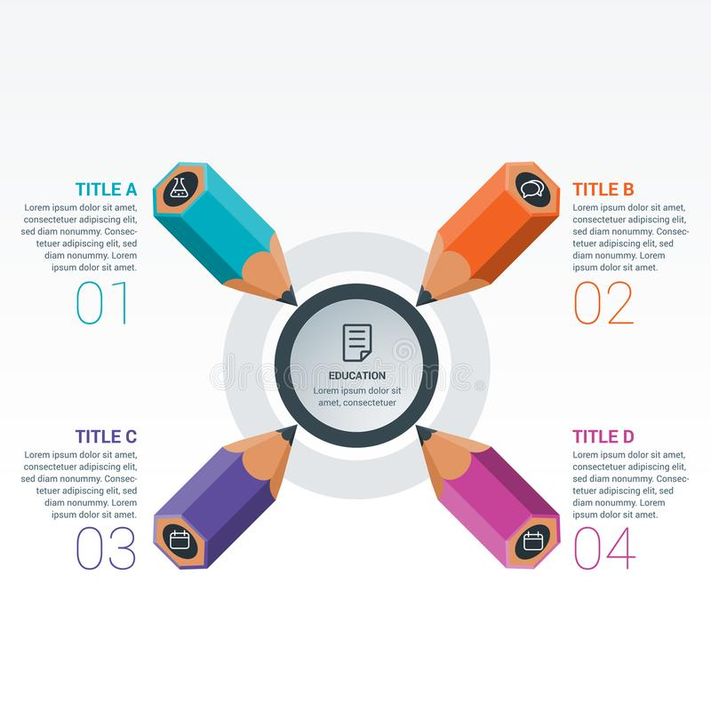 Colourful Education Elements Infographics Pencil royalty free illustration