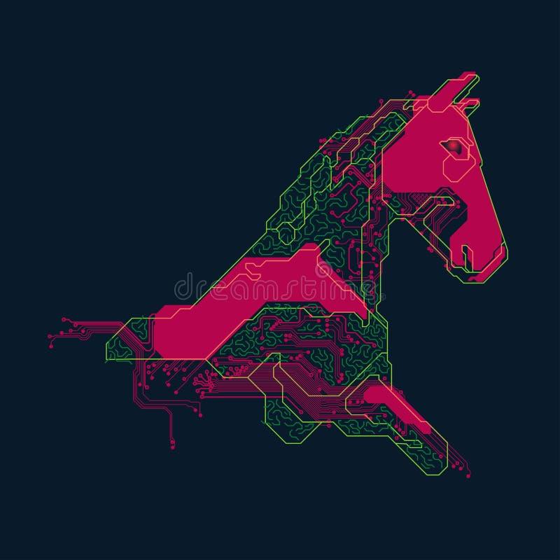 Colourful elektroniczny koń royalty ilustracja