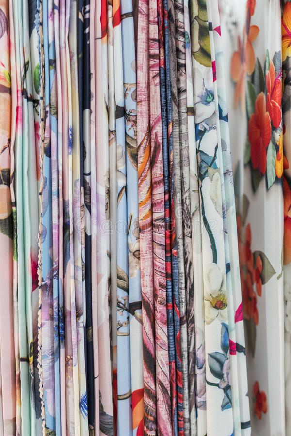 Colourful ethnic scarves in a medina location - close up and full frame. vertical photo.  royalty free stock photos
