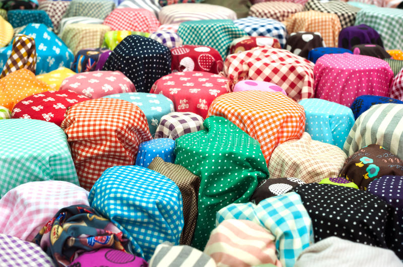 Colourful fabric on sale at a Bangkok wholesale market stock photo