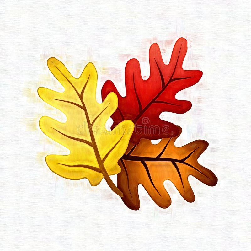 Colourful Fall Oak Leaves. An illustration featuring an arrangement of textured fall oak leaves in gold yellow, red and brown royalty free illustration