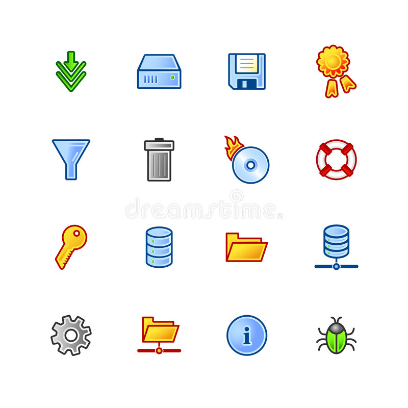 Download Colourful File Server Icons Stock Vector - Image: 2131256