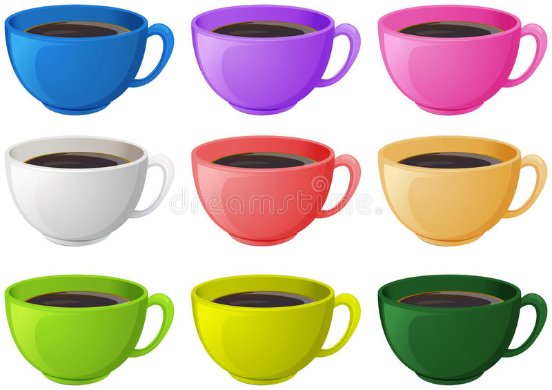 Colourful filiżanki z kawą royalty ilustracja