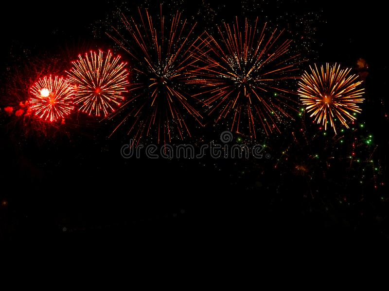 Colourful Fireworks Display for Celebrations on Dark Sky Background stock photos