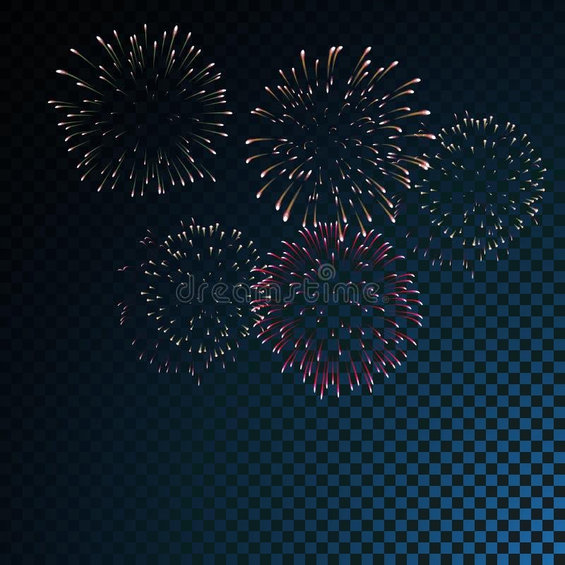 Colourful fireworks vector on transparent background royalty free illustration