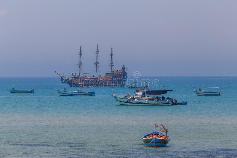 Colourful fishing boats near Hammamet stock image