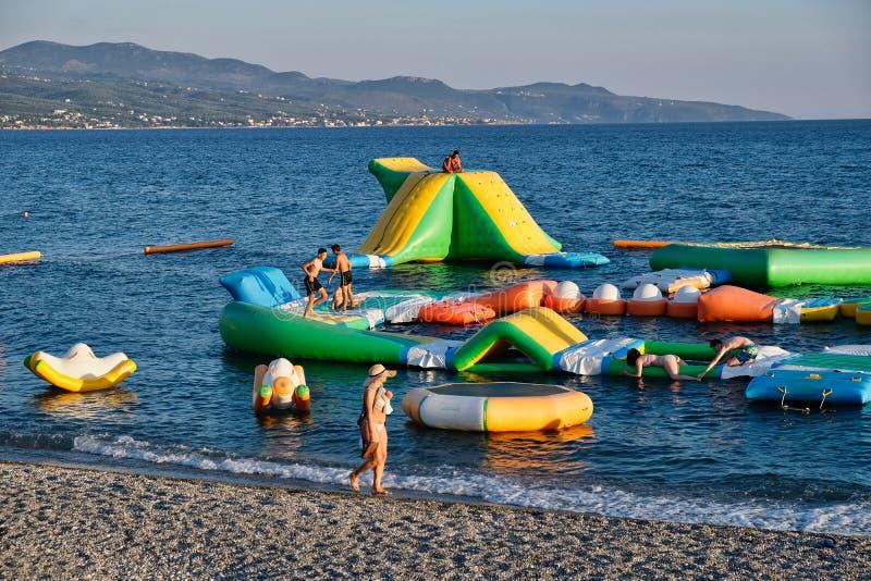 Colourful Floating Playground, Kalamata, Greece stock image