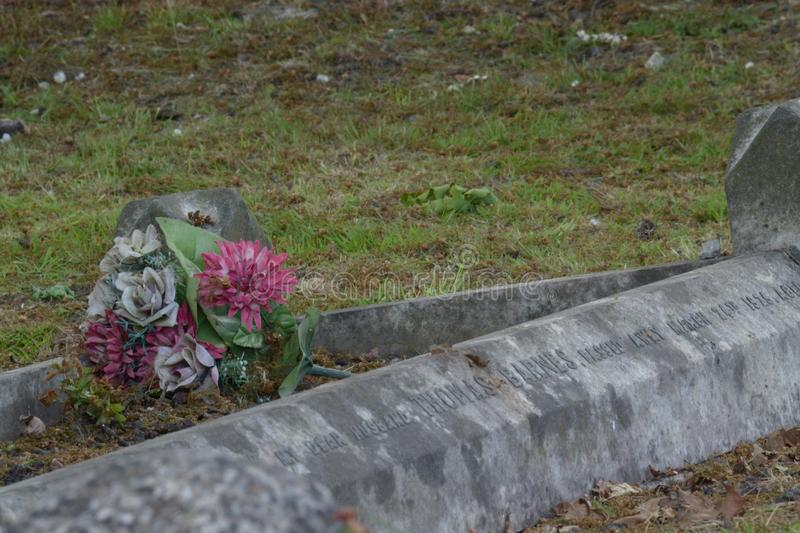 Flowers on the forgotten grave. stock photos
