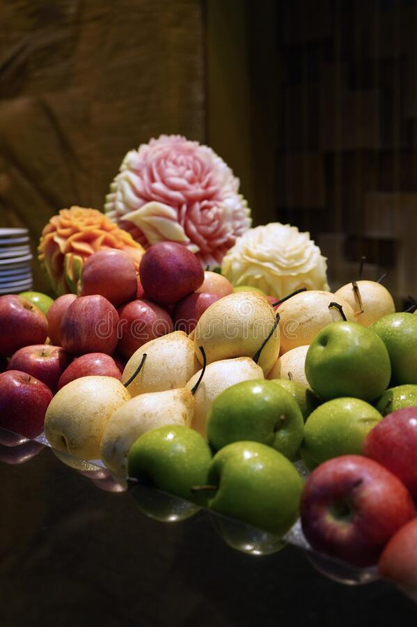 Colourful fresh fruits like apple and pear royalty free stock images