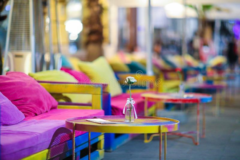 Colourful garden terace town table relax rainbow stock photography