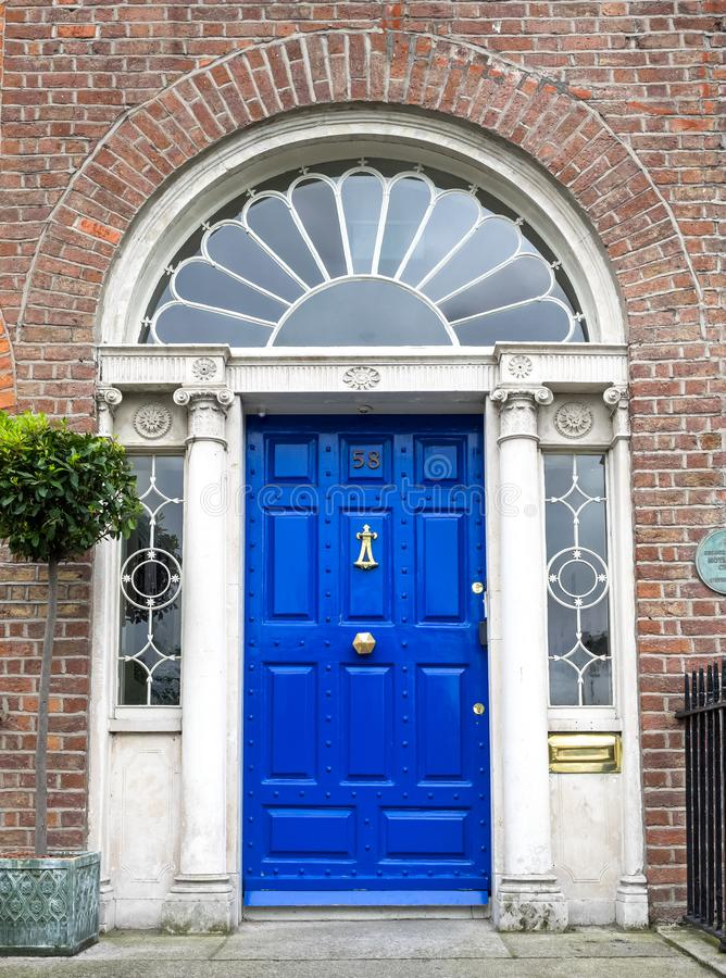 Colourful Georgian door in Dublin city, Merrion Square, Ireland royalty free stock photography