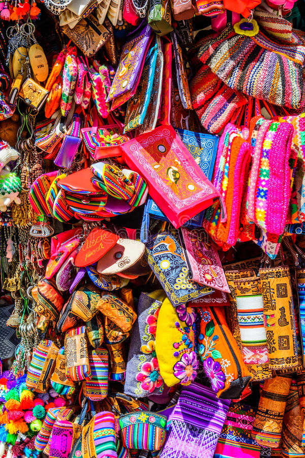 Colourful goods for sale in souvenir shop, Peru. Colourful goods for sale in souvenir shop in Ollantaytambo, Peru. Ollantaytambo is a town and an Inca stock photos