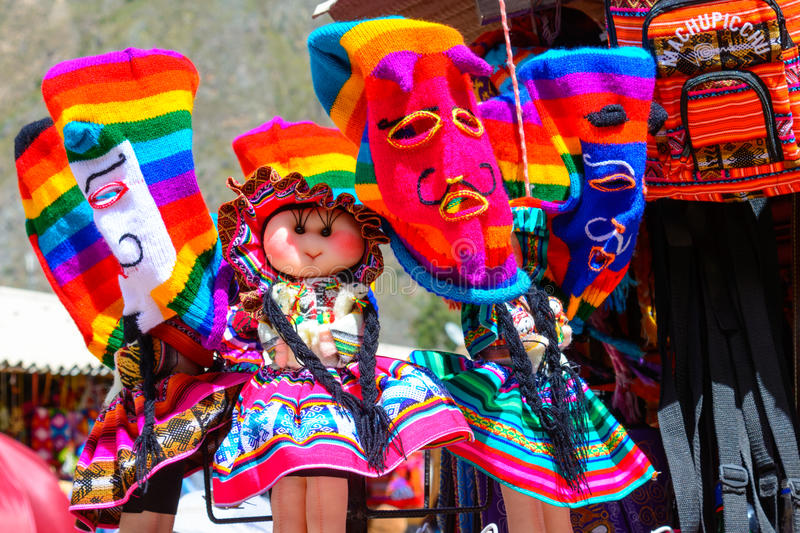 Colourful goods for sale in souvenir shop, Peru. Colourful goods for sale in souvenir shop in Ollantaytambo, Peru. Ollantaytambo is a town and an Inca royalty free stock image