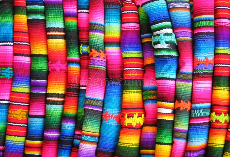 Colourful Guatemalan fabrics stock photo