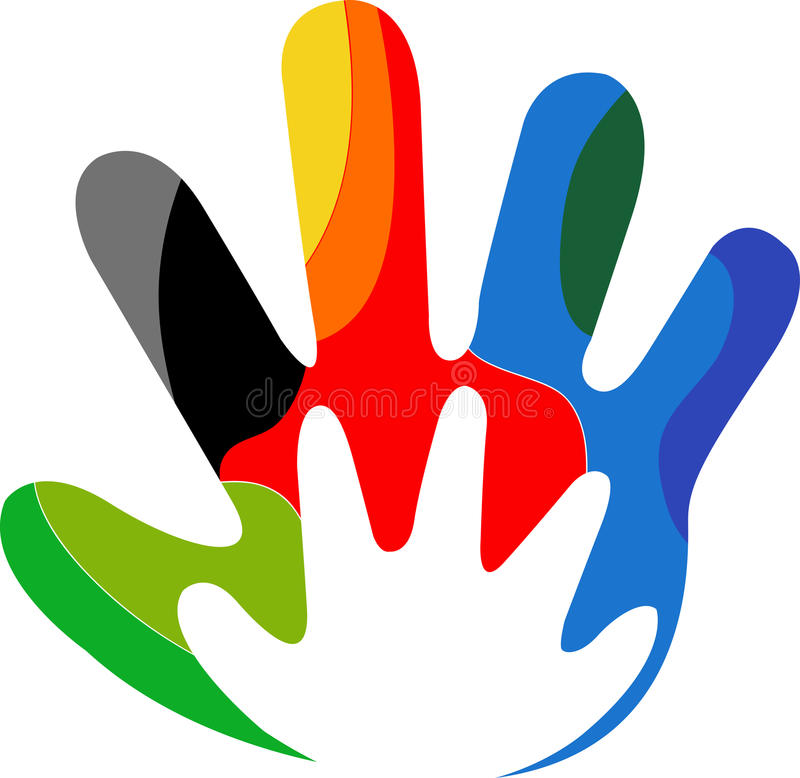 Colourful hand logo. Illustration art of a colourful hand logo with isolated background