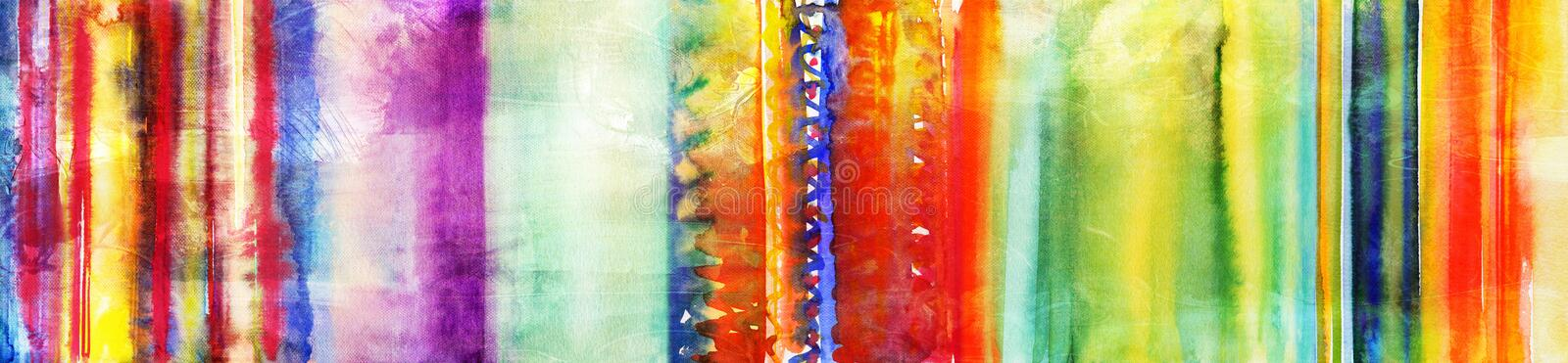 Colourful hand painted watercolor stripes banner. Hand painted watercolor stripes banner in various colourful tones and textures stock illustration