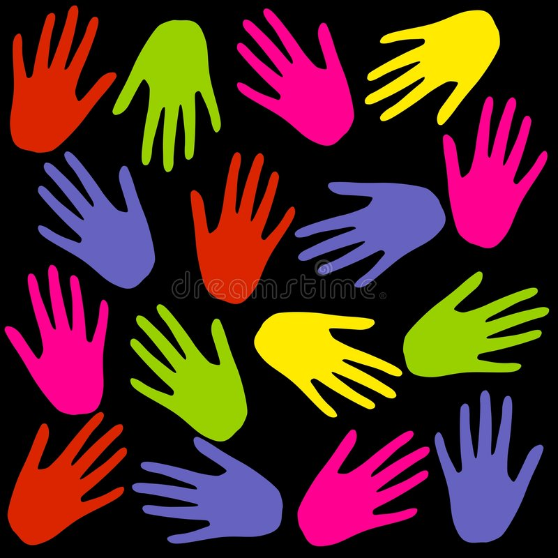 Download Colourful Hand Prints Background On Black Royalty Free Stock Images - Image: 4105999
