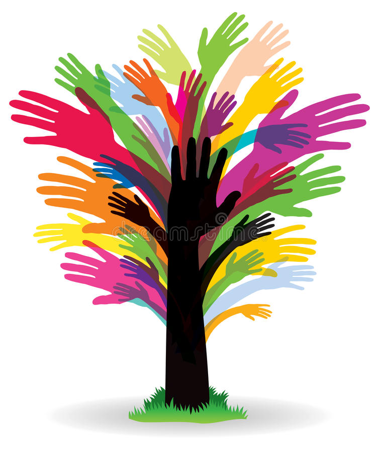 Colourful Hand Tree royalty free illustration
