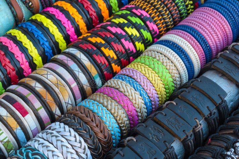 Colorful handmade bracelets royalty free stock image
