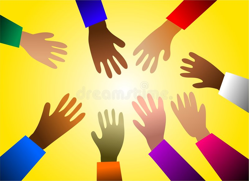 Colourful hands stock illustration