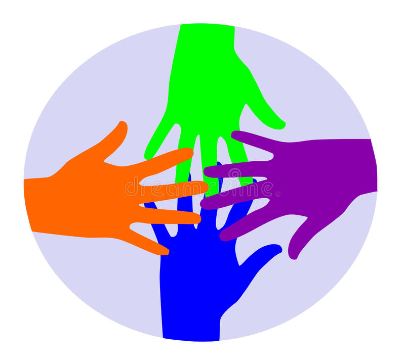 Colourful Hands Connecting. Royalty Free Stock Image
